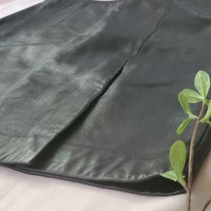 Michael Kors 100% leather black skirt sz 10 [867]